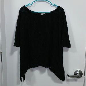 Tobi black-striped fabric top
